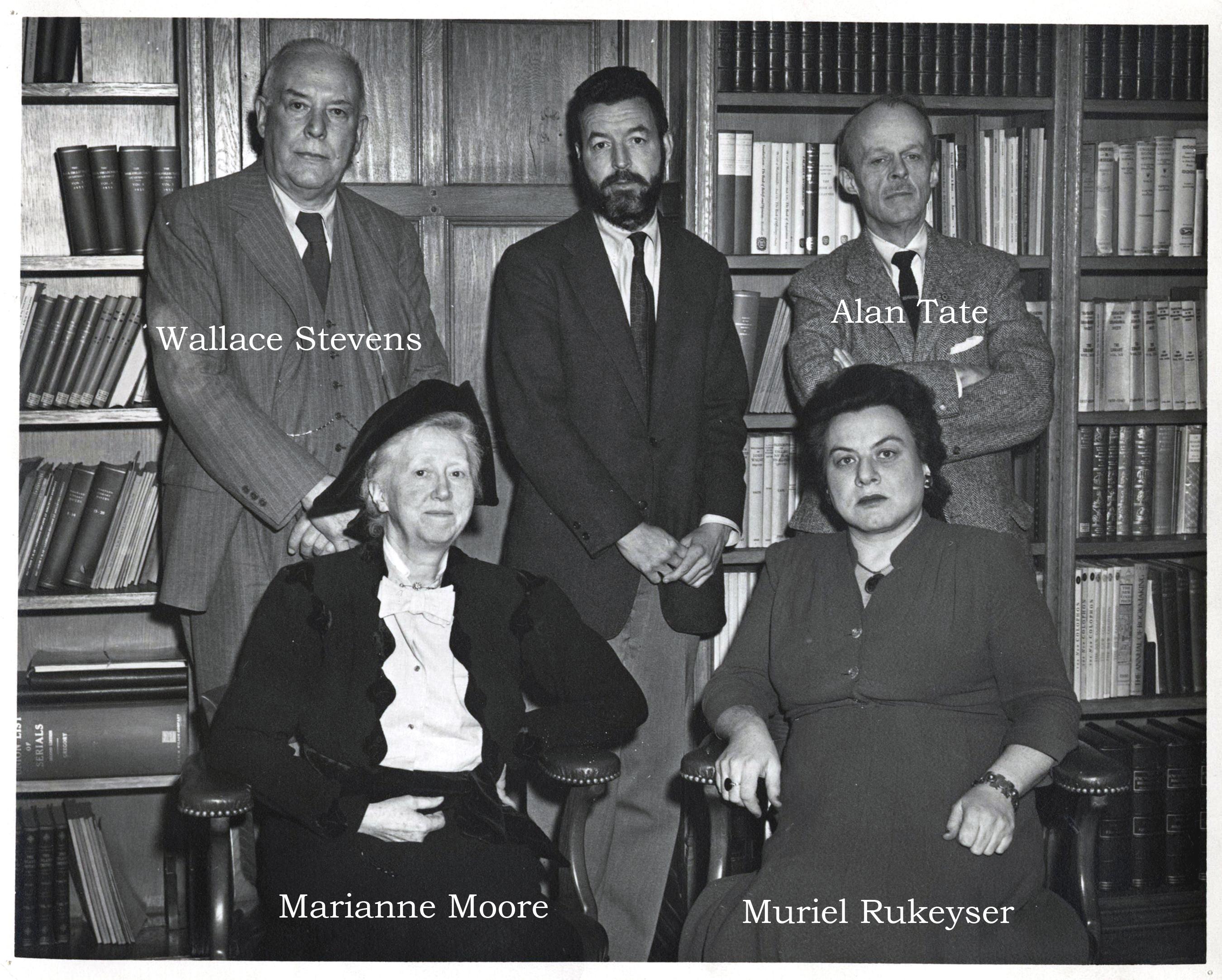 Muriel Rukeyser with fellow poets Randall Jarrell, Wallace Stevens, Alan  Tate, Marianne Moore in 1955 | Jewish Women's Archive