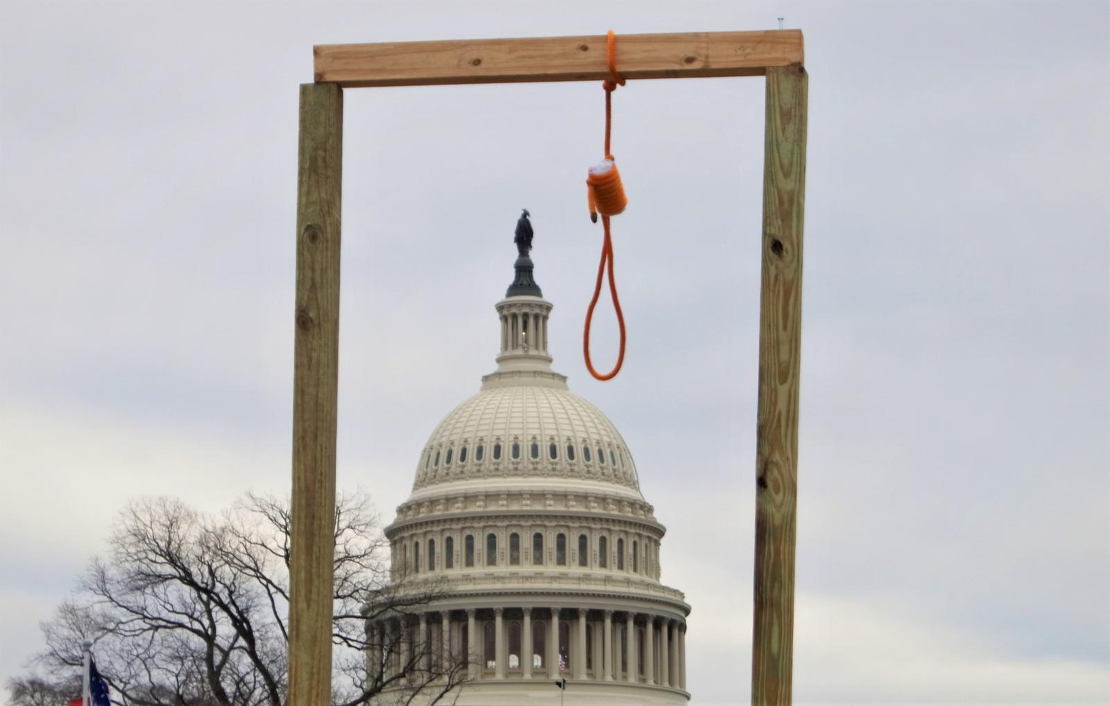 Gallows near the US Capitol, January 6, 2021
