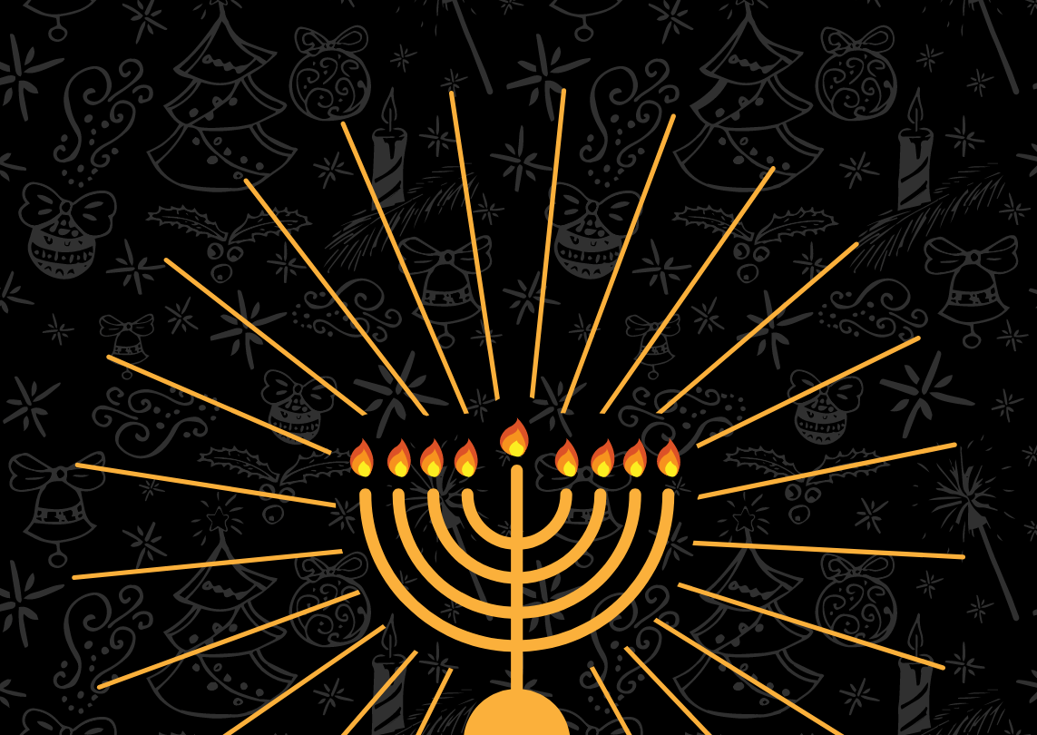 Graphic of Christmas symbols overlaid with a large, shining menorah