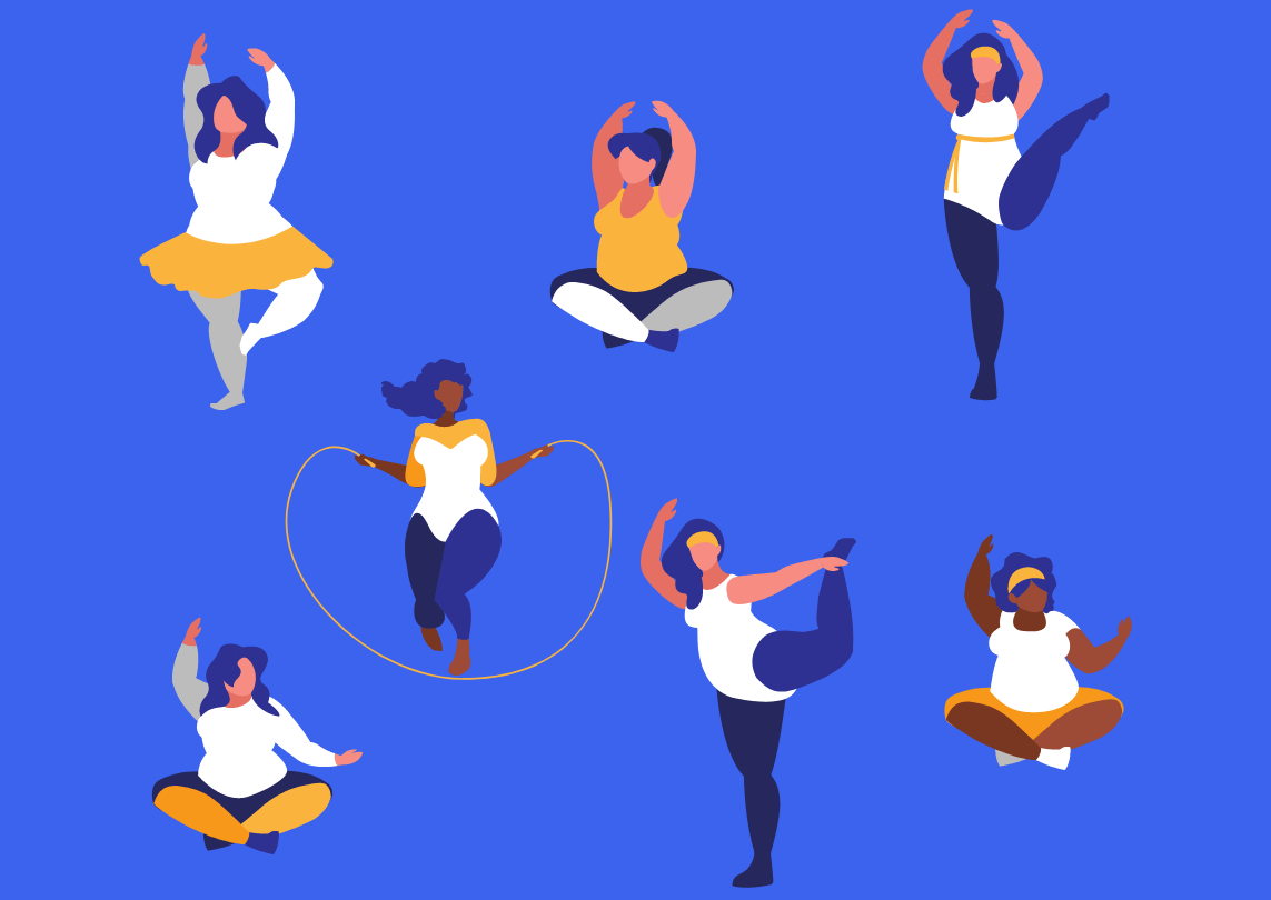 Illustration of plus-size women doing various exercises.