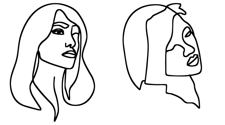 Line Drawings of Two Women's Faces Index Image