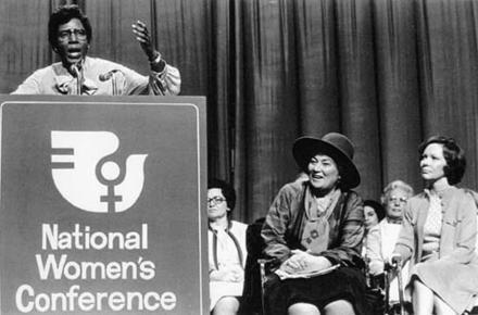 Congresswoman Barbara Jordan Speaking at the National Women's Conference with Bella Abzug and Rosalynn Carter, 1977