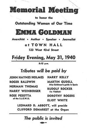 Poster for Memorial Meeting to Honor Emma Goldman, 1940