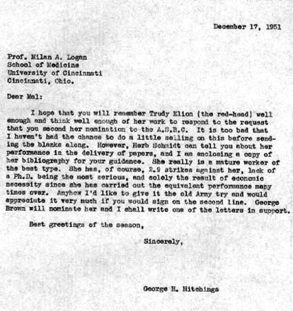 Letter from George Hitchings to Milan Logan, December 17, 1951