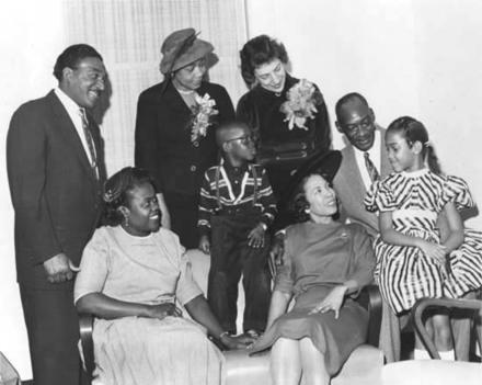 Justine Wise Polier with Mrs. Andre Taylor, Alfred Taylor, Mr. and Mrs. John James, Stephanie James, Andrew Taylor, Mrs. Jessie Profelt