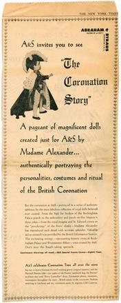 Advertisement for the Display of Beatrice Alexander's Coronation Dolls at Abraham & Straus, The New York Times, May 24, 1953
