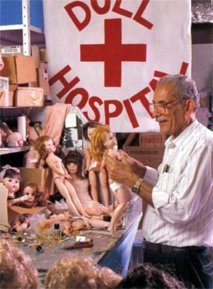 Cosme Santiago Working in the Modern Doll Hospital at the Alexander Doll Company, 1999