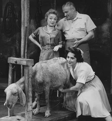 "Molly Picon, Robert Weede, and Mimi Bezell in ""Milk and Honey,"" 1961"