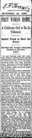 """First Woman Rabbi"" Article Excerpt from the San Francisco Chronicle, October 19, 1893"