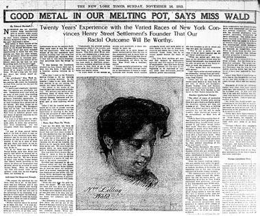 """Good Metal In Our Melting Pot, Says Miss Wald,"" November 16, 1913"