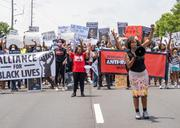 Tarece Johnson leading a Justice for Black Lives march she organized in Atlanta, June 7, 2020