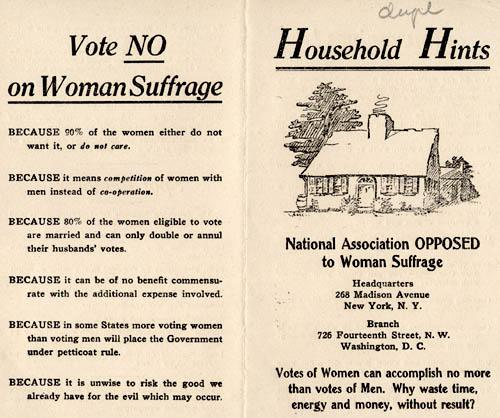 Pamphlet by the National Association Opposed to Woman Suffrage Part 1